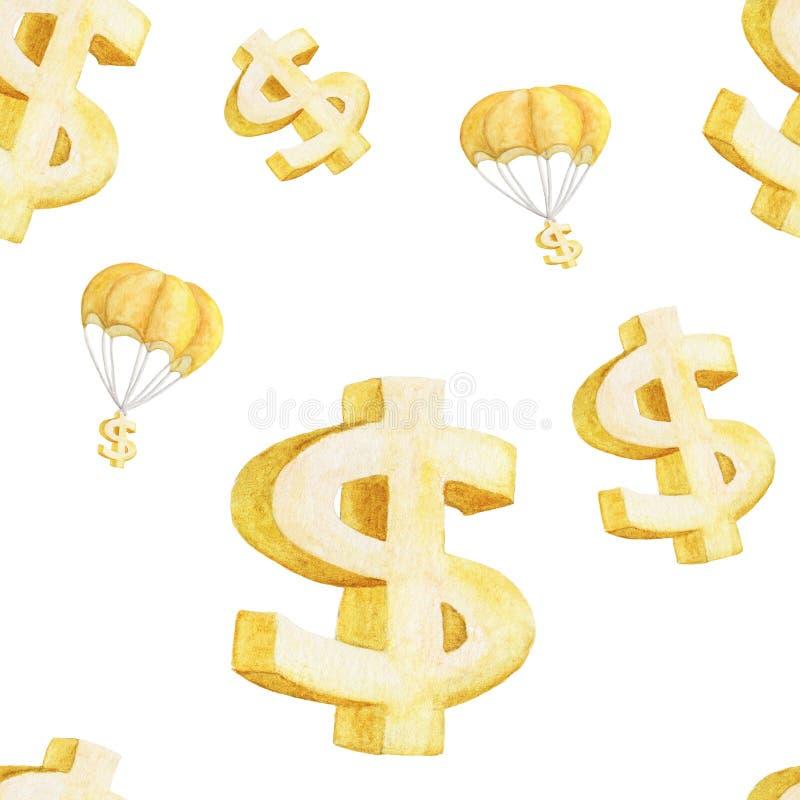 Illustration sans couture d'aquarelle du parachutage d'or du dollar et de symbole dollar illustration de vecteur