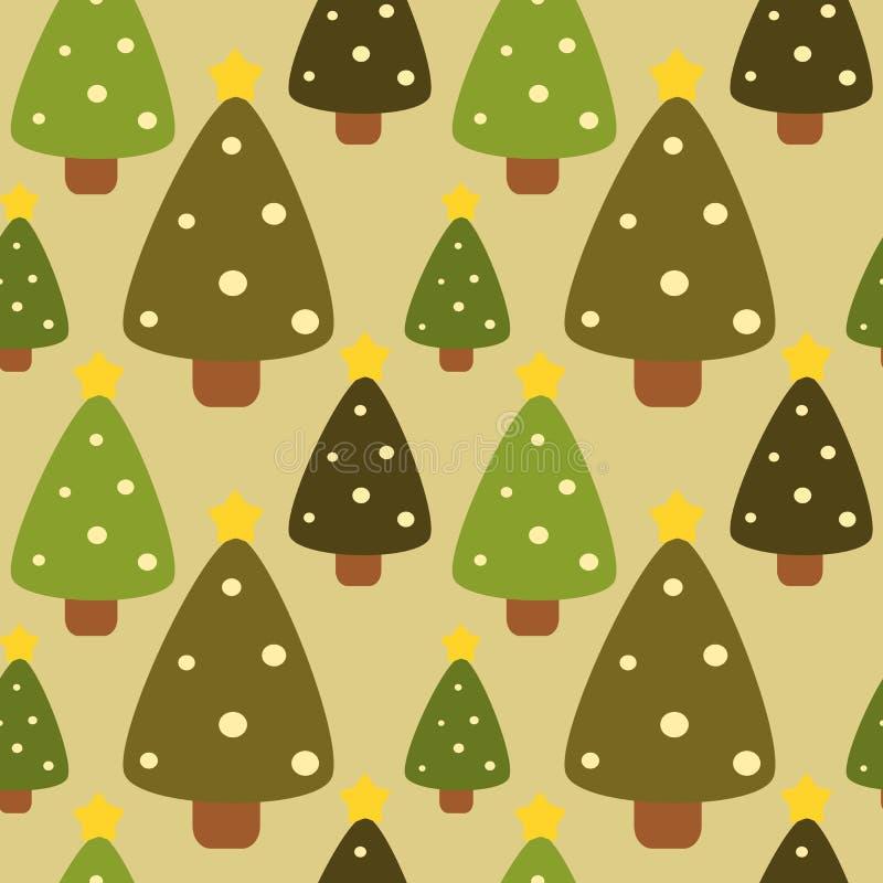 Illustration sans couture de fond de modèle de Noël de forêt plate d'arbre illustration stock
