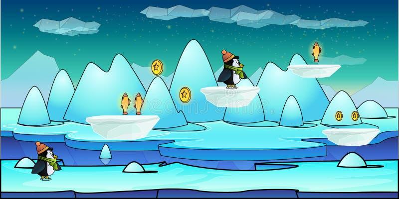 Illustration sans couture de fond de montagne pour l'APP mobile, le Web, le jeu avec la neige et la glace Éléments de GUI de cali illustration stock
