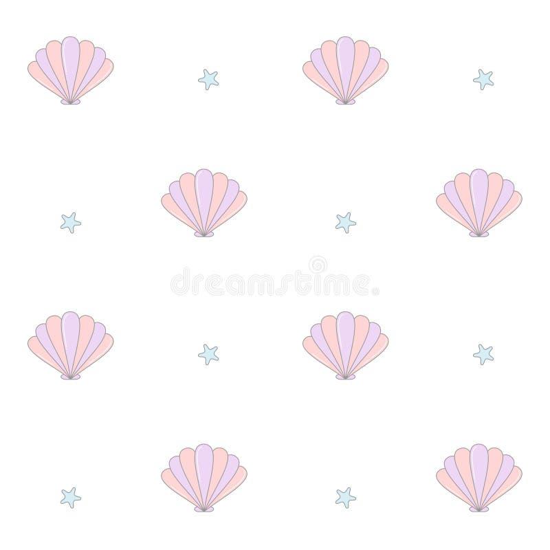 Illustration sans couture de fond de modèle de vecteur de coquillages colorés mignons illustration de vecteur