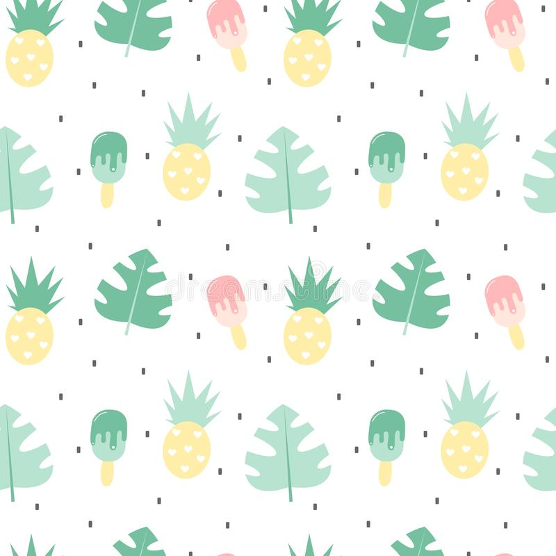 Illustration sans couture de fond de modèle de vecteur d'été coloré mignon avec les feuilles, les ananas et la crème glacée exoti illustration libre de droits