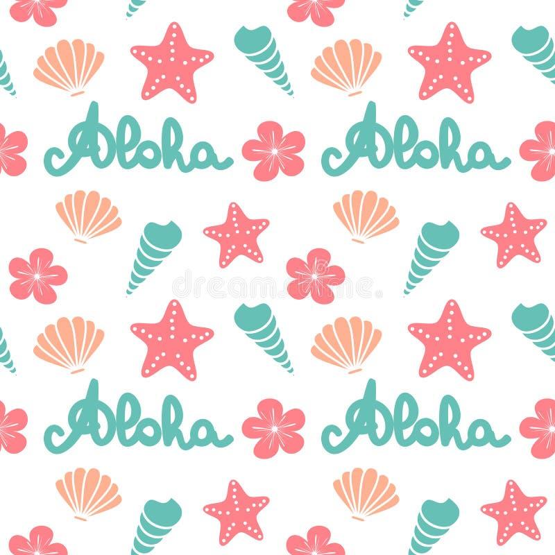 Illustration sans couture de fond de modèle de vecteur d'été mignon avec aloha le mot de inscription tiré par la main, les coquil illustration libre de droits