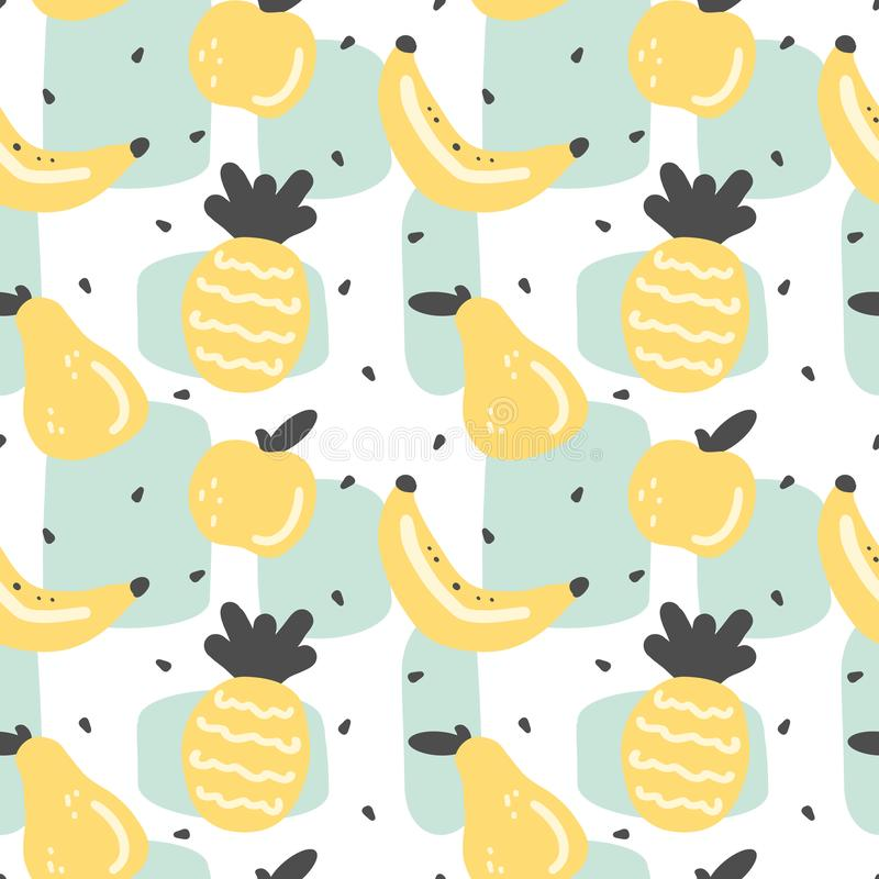 Illustration sans couture de fond de modèle de vecteur d'été moderne mignon avec le citron, la tranche de citron, les éléments ab illustration de vecteur