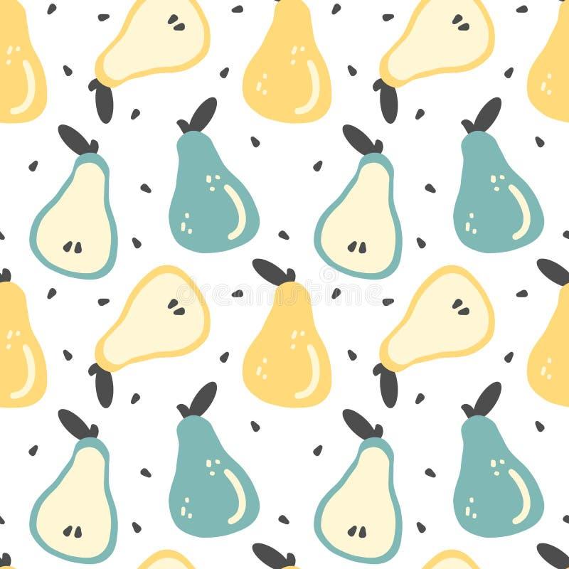 Illustration sans couture de fond de modèle de vecteur de poires fraîches tirées par la main colorées mignonnes illustration libre de droits