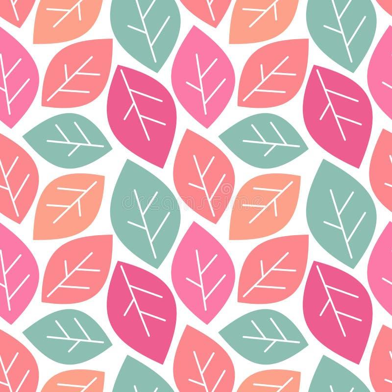Illustration sans couture de fond de modèle de vecteur de ressort coloré mignon avec des feuilles illustration de vecteur
