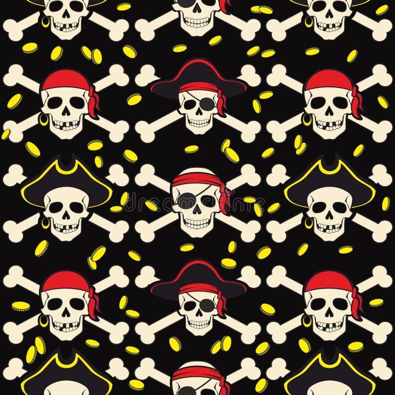 Illustration sans couture de fond de vecteur le modèle pirate des accessoires et des attributs de crâne illustration libre de droits