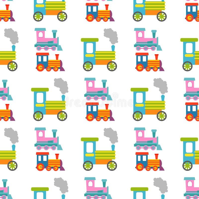 Illustration sans couture de locomotive de jouet de transport de chemin de fer de voyage de vecteur de fond de modèle de train d' illustration stock