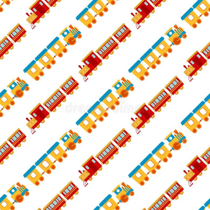 Illustration sans couture de locomotive de jouet de transport de chemin de fer de voyage de vecteur de fond de modèle de train d' illustration de vecteur