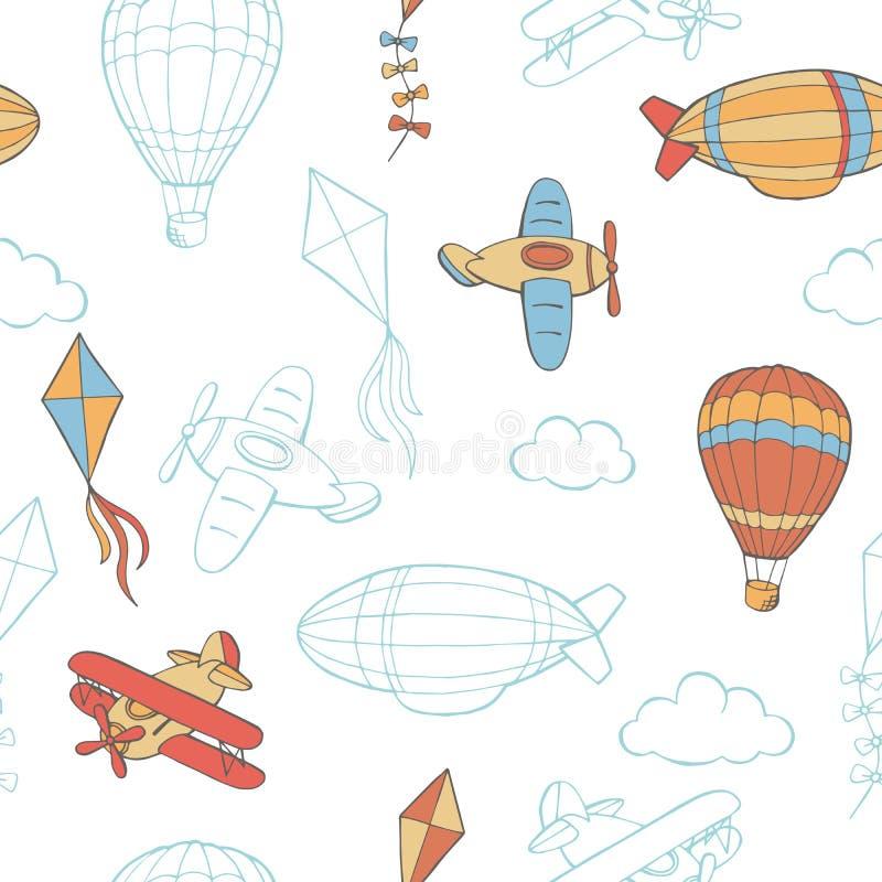 Illustration sans couture de modèle de croquis graphique de couleur de nuage de cerf-volant de ballon d'avion de vol illustration stock