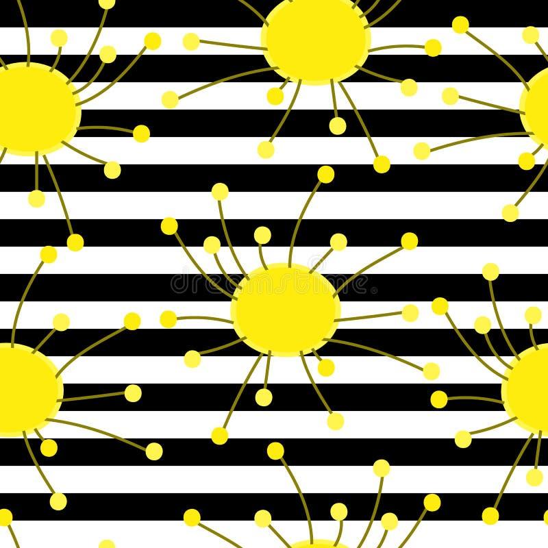 Illustration sans couture de modèle de fleurs tirées par la main abstraites modernes illustration libre de droits