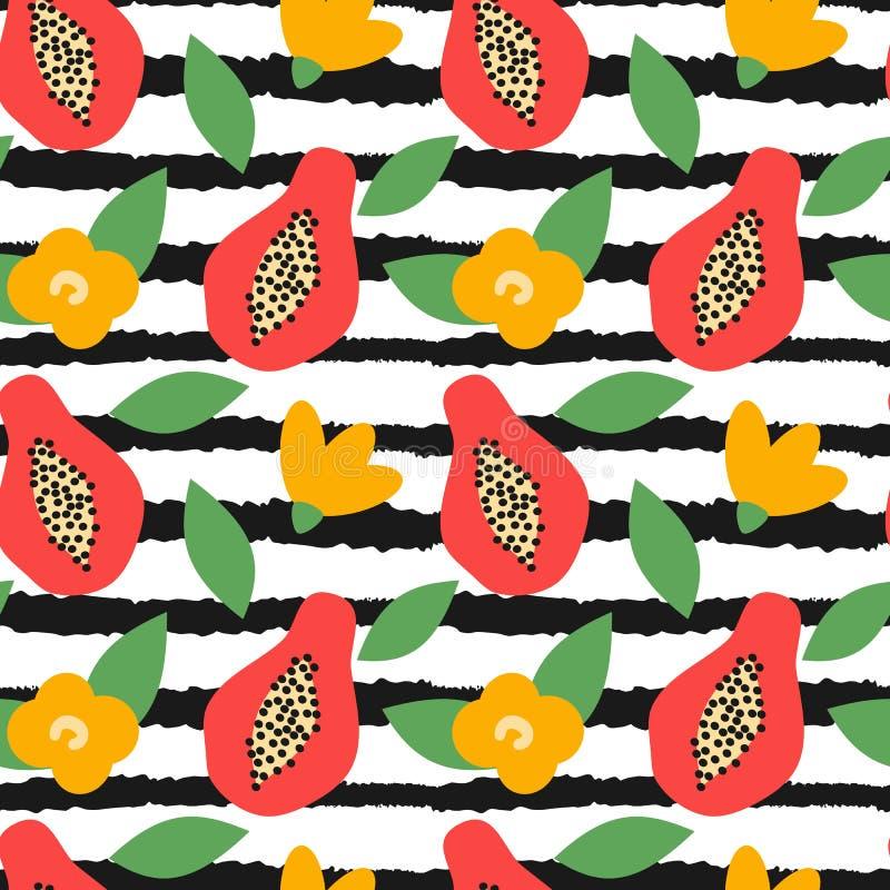 Illustration sans couture de modèle de vecteur de bel été moderne mignon avec la papaye et les fleurs tirées par la main sur le b illustration libre de droits
