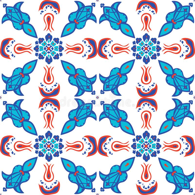 Illustration sans couture de modèle de vecteur d'art islamique turc de tuile de mosquée d'Ottoman Iznik illustration de vecteur