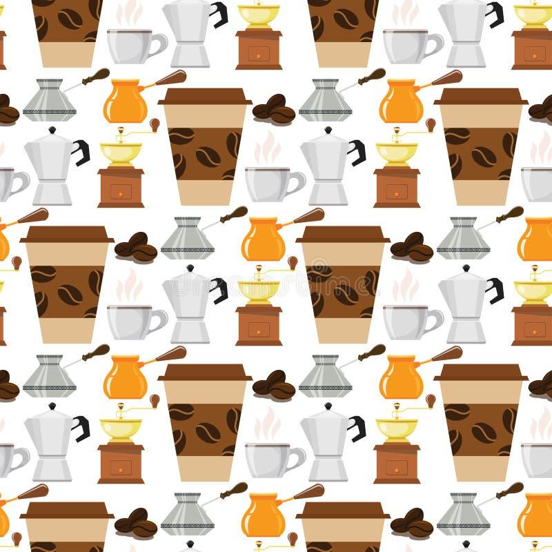 Illustration sans couture de nourriture de boissons de texture de vecteur de fond de modèle de cafetière de tasse de café illustration stock