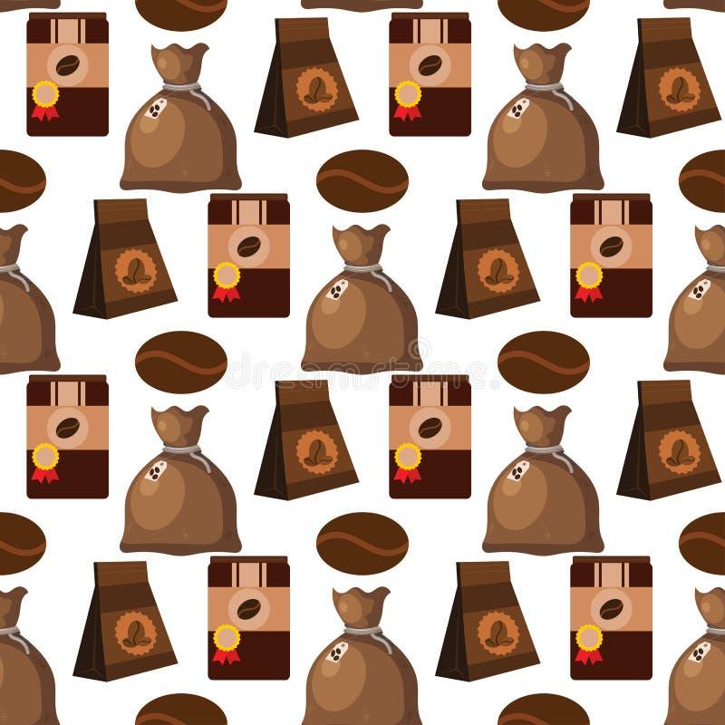 Illustration sans couture de nourriture de boissons de texture de vecteur de fond de modèle de cafetière de tasse de café illustration de vecteur