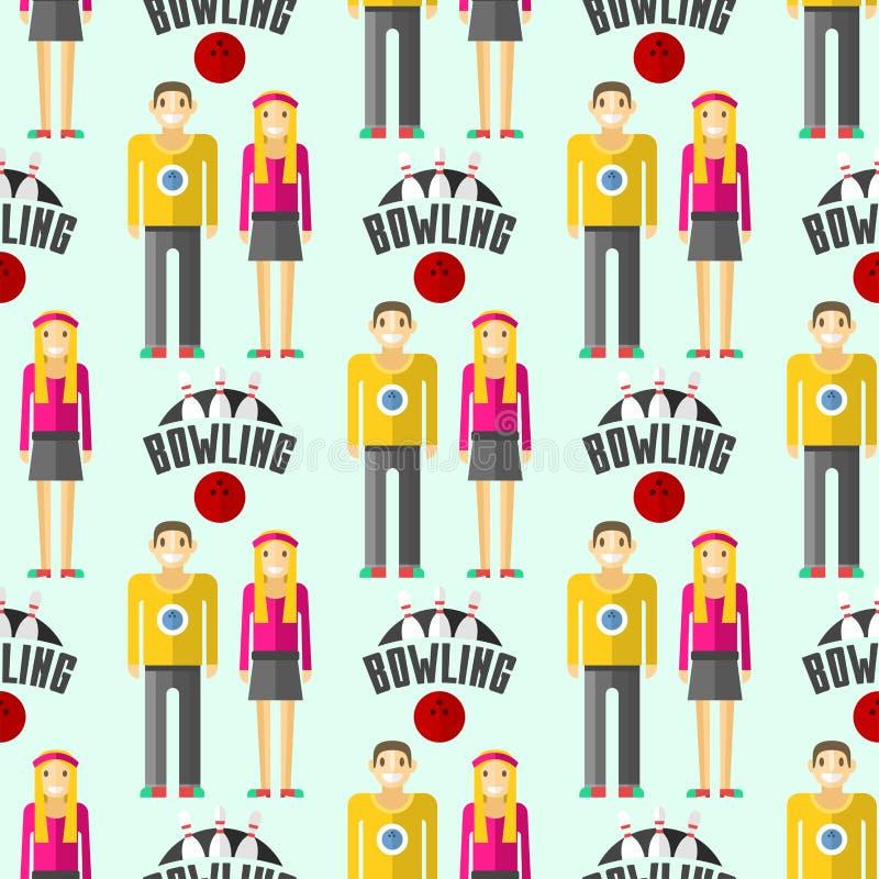 Illustration sans couture de roulement colorée d'équipement de jeu de quille de boule de symbole de goupille de grève de sport de illustration stock