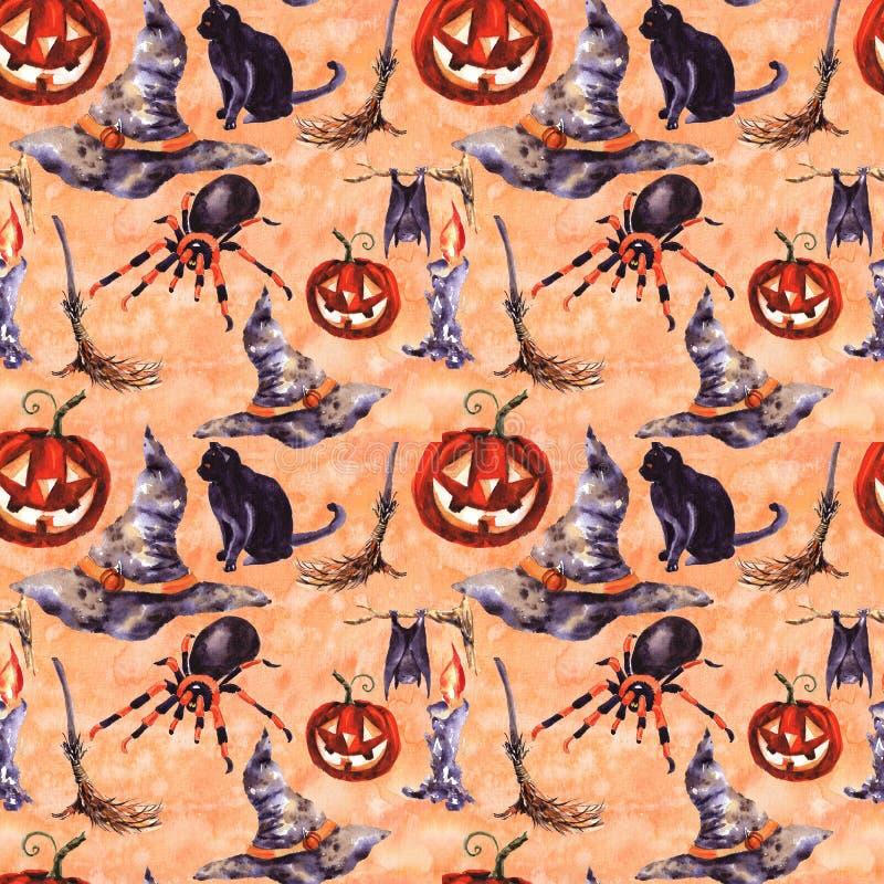 Illustration sans couture de symbole de vacances de modèle de Halloween Aquarelle tirée par la main pour le potiron de bougie de  illustration stock