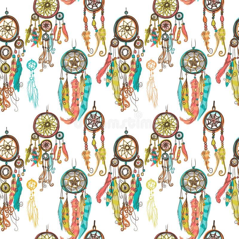 Illustration sans couture de vecteur avec les receveurs rêveurs illustration libre de droits
