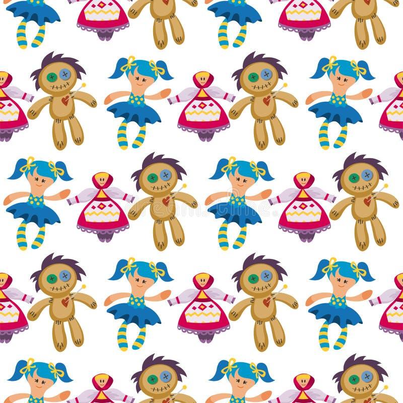 Illustration sans couture de vecteur de chiffon-poupée d'épouvantail de ferme de fond de modèle de poupées de jouet de caractère  illustration stock