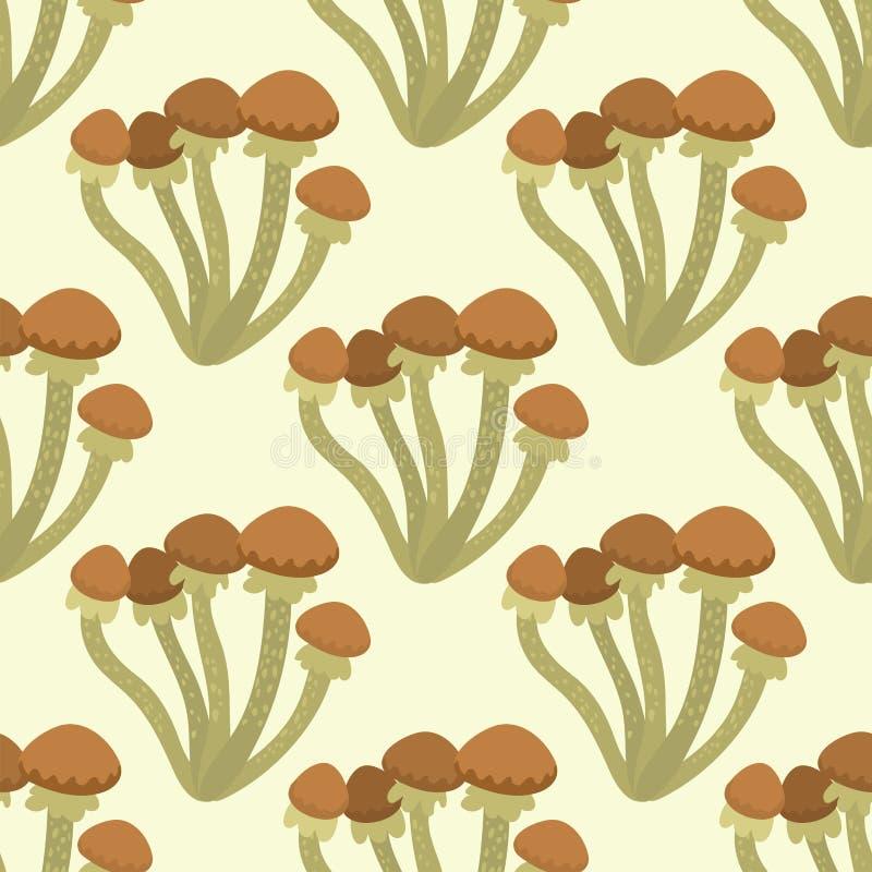 Illustration sans couture de vecteur de conception de style d'art de fond de modèle de champignon de champignon d'agaric de mouch illustration libre de droits