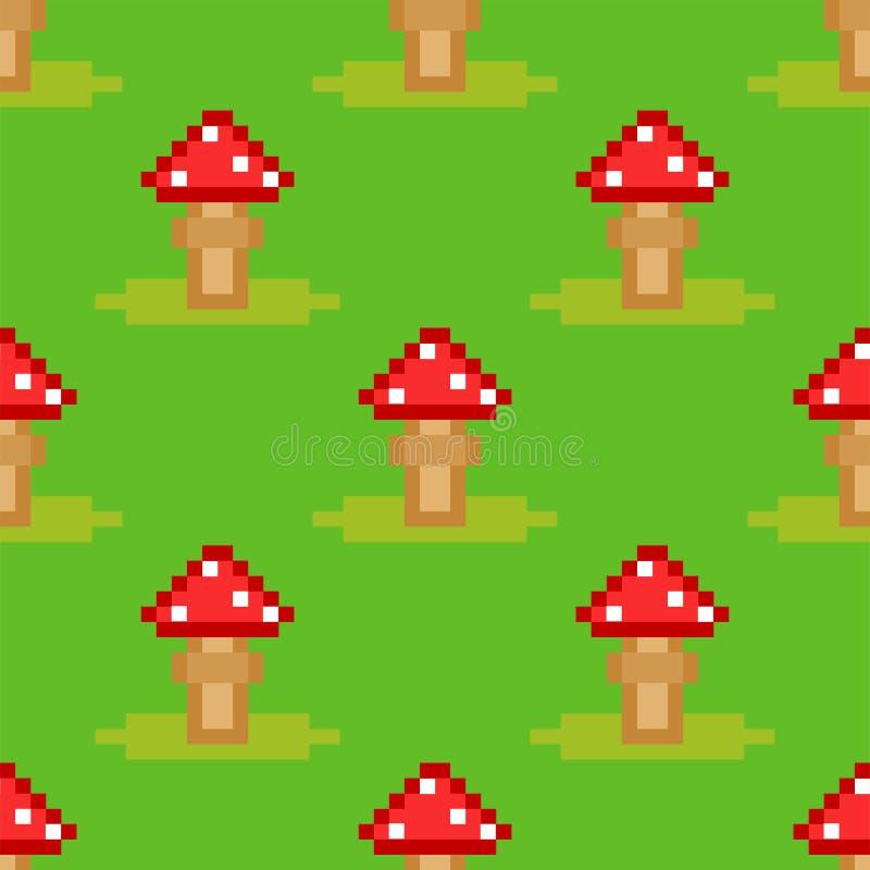 Illustration sans couture de vecteur de conception de style d'art de modèle de champignon de champignon d'agaric de mouche d'aman illustration stock