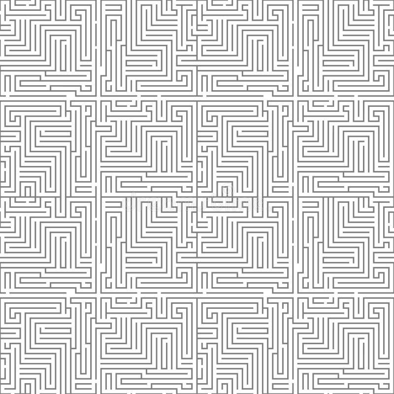 Illustration sans couture de vecteur de calibre de conception de fond de modèle de labyrinthe de labyrinthe de complexité illustration libre de droits