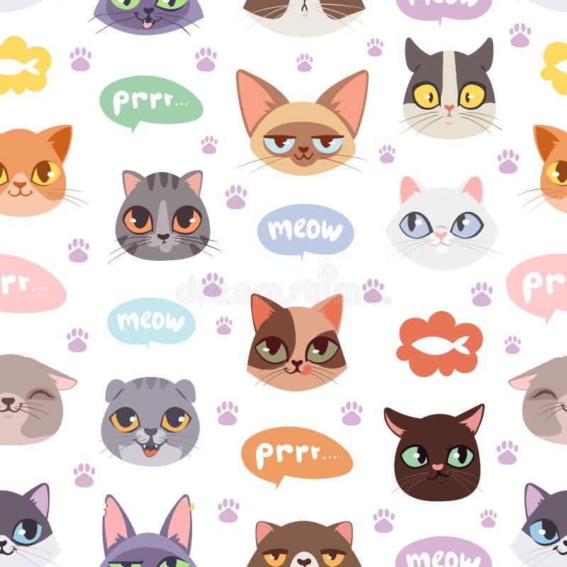 Illustration sans couture de vecteur de fond de modèle de chats de hippie illustration stock
