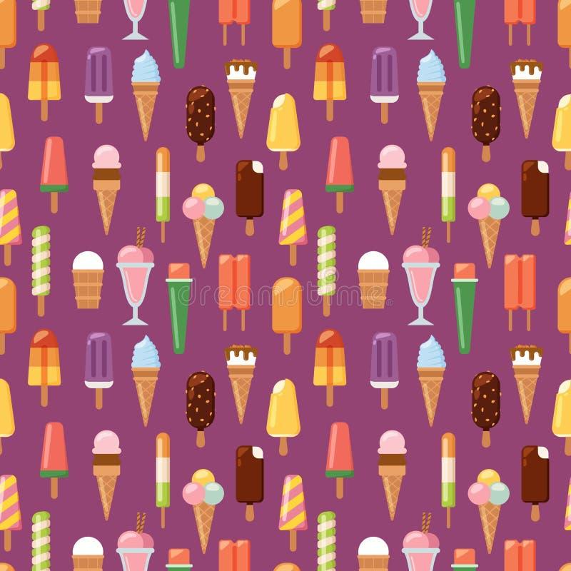 Illustration sans couture de vecteur de fond de modèle de crème glacée de fruit illustration de vecteur