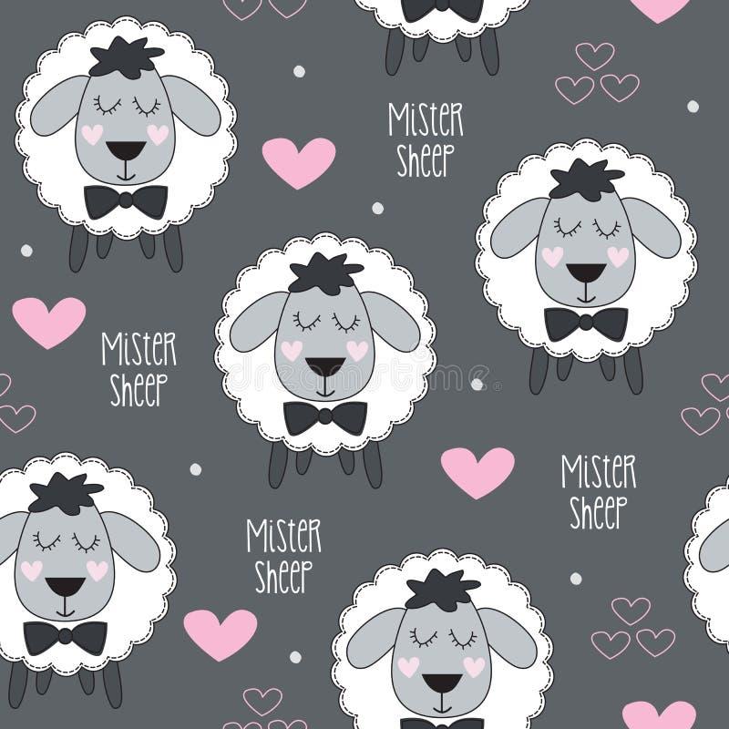 Illustration sans couture de vecteur de modèle d'agneau de moutons de Monsieur illustration stock