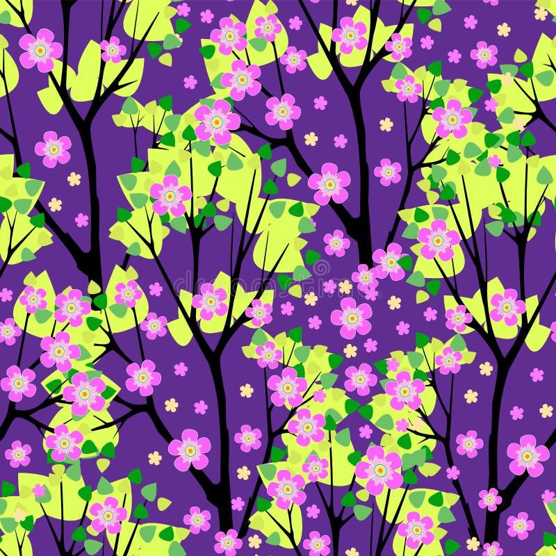 Illustration sans couture de vecteur de modèle d'arbres fleurissants illustration libre de droits