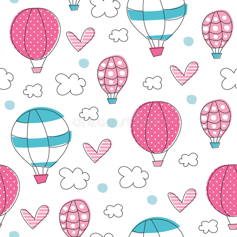Illustration sans couture de vecteur de modèle de ballons à air illustration stock