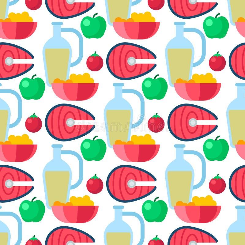 Illustration sans couture de vecteur de fond de modèle de mode de vie de régime de gruau de légumes cerreal sains de pomme illustration libre de droits