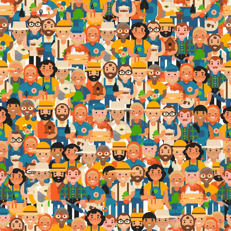 Illustration sans couture de vecteur de modèle d'agriculteurs heureux Les jeunes âgés et, personnages de dessin animé Jardinier m illustration de vecteur