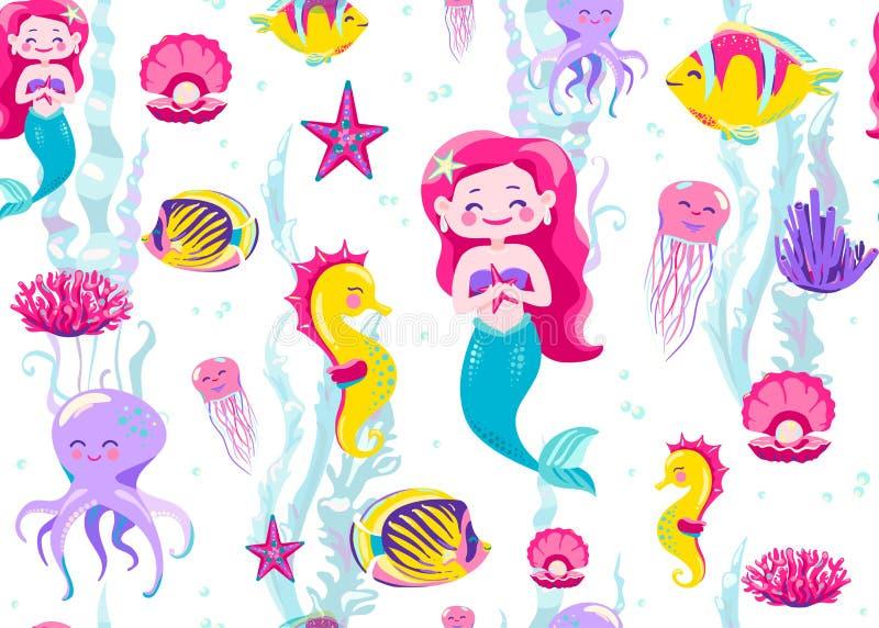 Illustration sans couture de vecteur de modèle de sirène Fond sans fin pour la copie d'enfant avec des poissons d'océan, hippocam illustration de vecteur