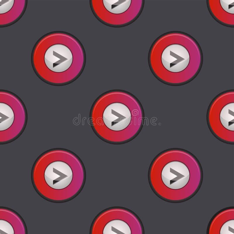 Illustration sans couture en ligne de vecteur de clic de marque de joueur de modèle de site Web d'Internet de media de jeu de bou illustration de vecteur