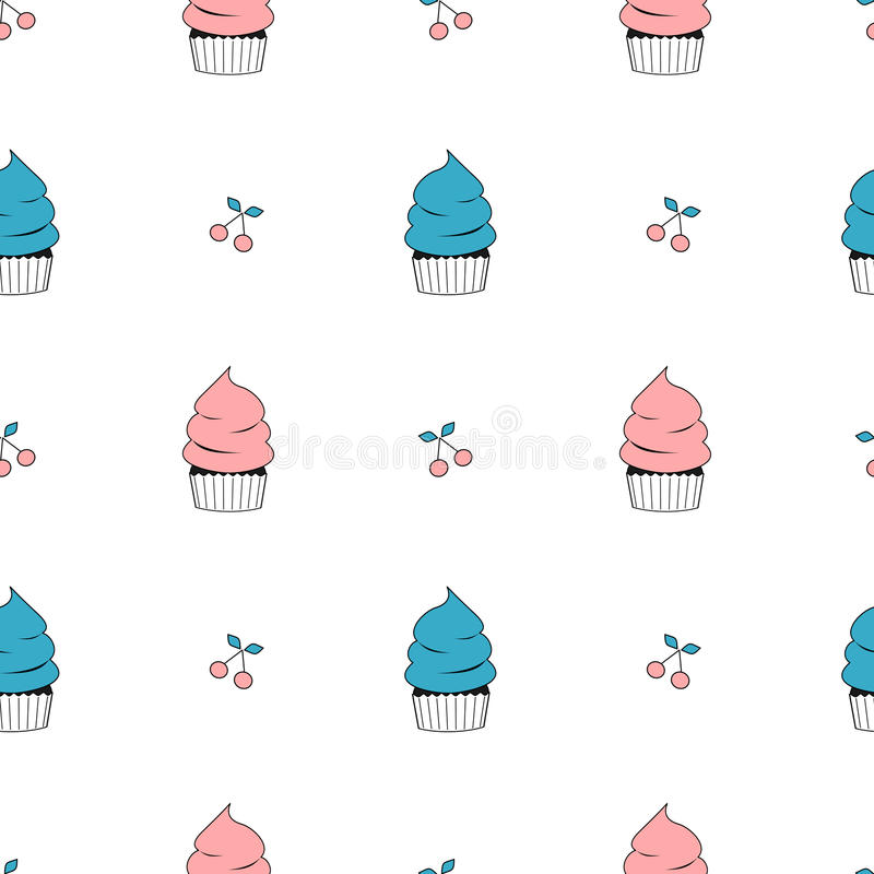 Illustration sans couture mignonne de fond de modèle de petit gâteau plat bleu et rose de bande dessinée illustration libre de droits