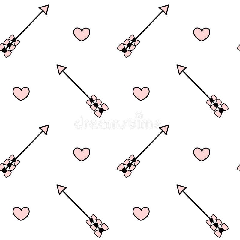 Illustration sans couture rose blanche noire de fond de modèle avec la flèche avec l'arc et le coeur illustration stock
