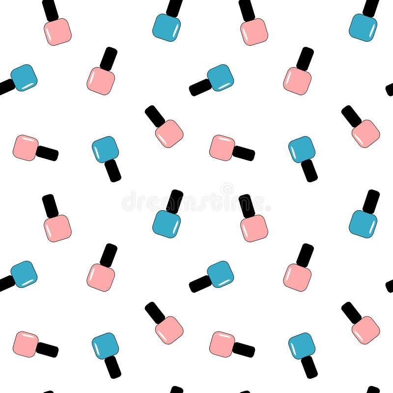 Illustration sans couture rose et bleue de belle bande dessinée mignonne de vernis à ongles de modèle de fond illustration stock