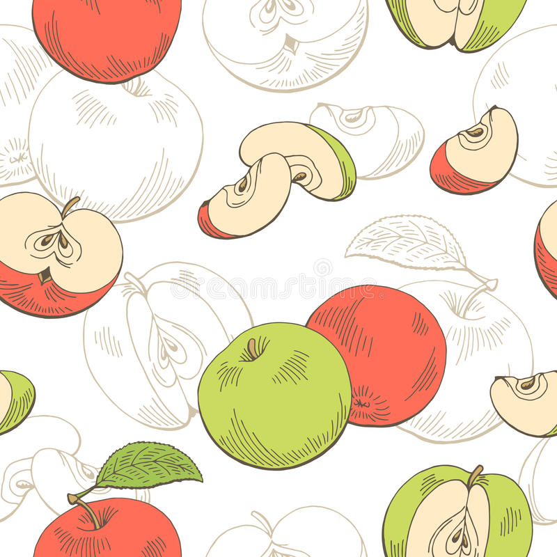 Illustration sans couture rouge graphique de croquis de modèle de couleur verte d'Apple illustration stock