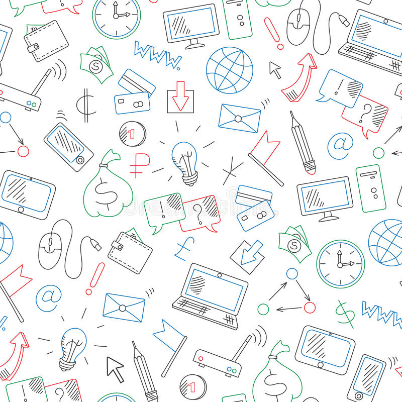 Illustration sans couture sur des affaires de thème sur la technologie d'Internet et d'information, dessinée avec les marqueurs c illustration libre de droits