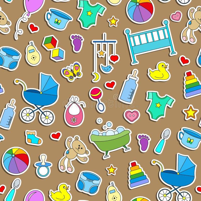 Illustration sans couture sur le thème de l'enfance et les bébés nouveau-nés, accessoires de bébé et jouets, icônes simples d'aut illustration stock