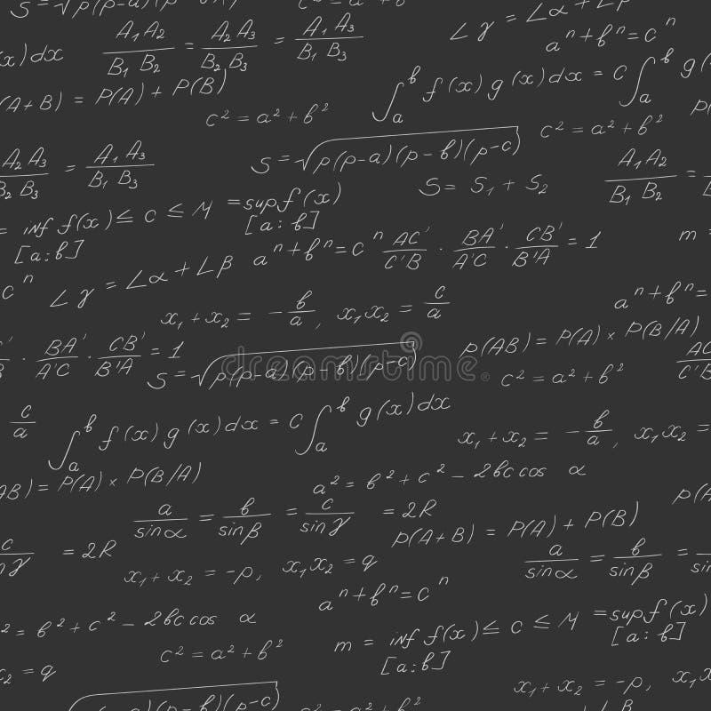 Illustration sans couture sur le thème du sujet des mathématiques, formules, théorèmes, caractères légers sur un fond foncé illustration de vecteur