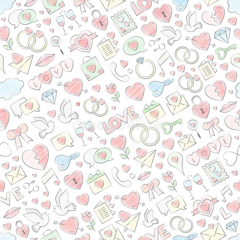 Illustration sans couture tirée par la main de vecteur de modèle d'amour avec le remplissage coloré par craie Vecteur répétant la illustration de vecteur