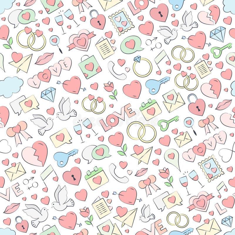 Illustration sans couture tirée par la main de vecteur de modèle d'amour Vecteur répétant la texture pour la Saint-Valentin illustration stock