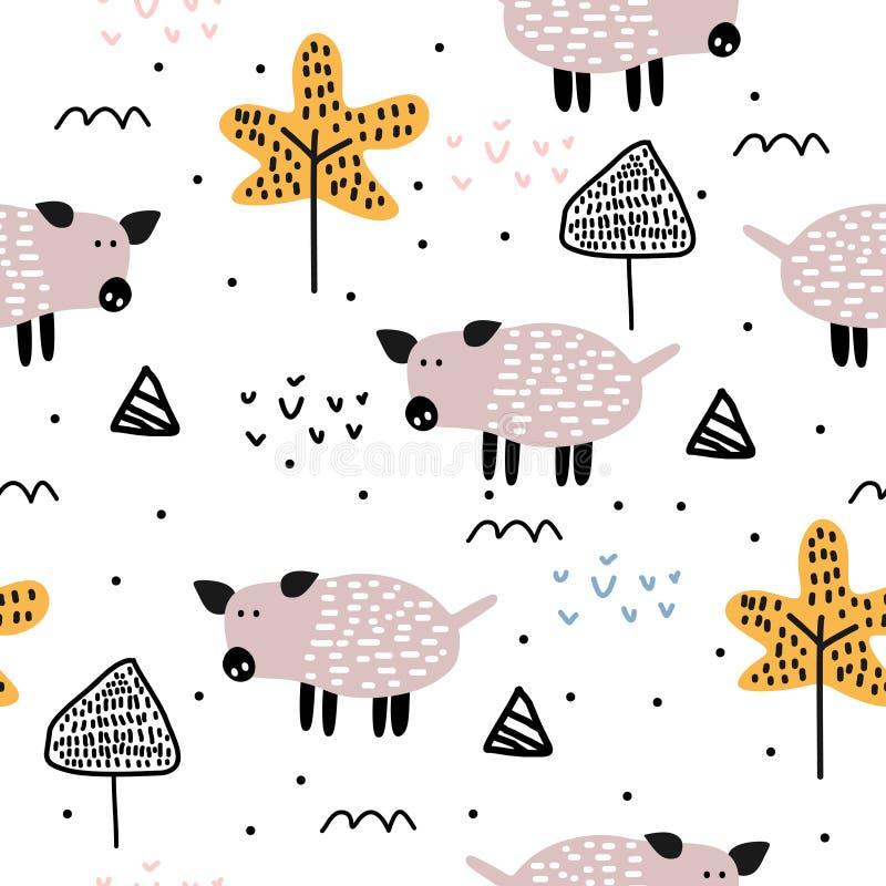 Illustration sans couture tirée par la main de vecteur de modèle de porc mignon Dessin scandinave à la mode sur le fond blanc Pré illustration stock