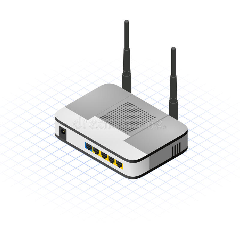 Illustration sans fil isométrique de vecteur de routeur illustration libre de droits