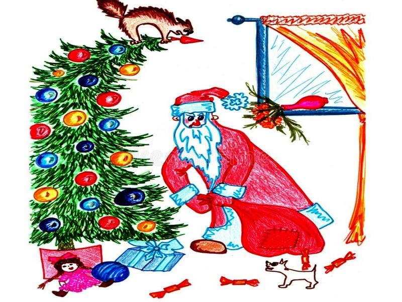 Santa Claus puts presents under the tree vector illustration