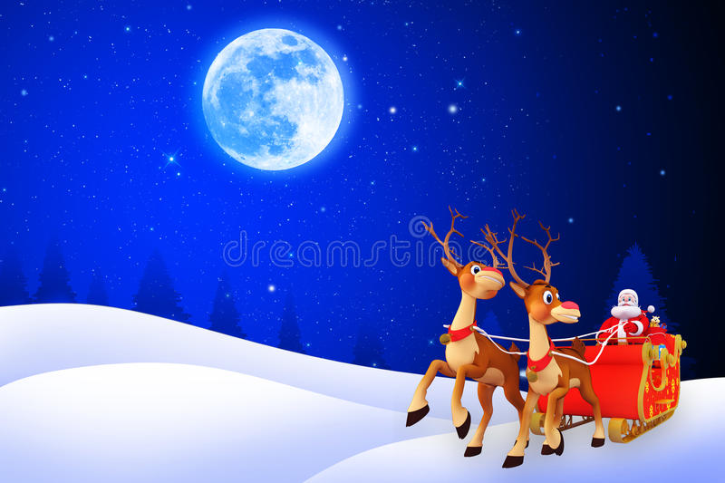 Download Illustration Of Santa With His Sleigh Stock Illustration - Illustration of deer, santa: 26667355