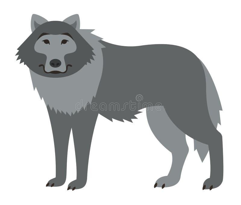 Illustration sauvage de sourire mignonne de bande dessinée de loup illustration libre de droits