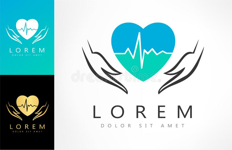 Illustration of save heart with heartbeat concept. Logo design vector illustration stock illustration