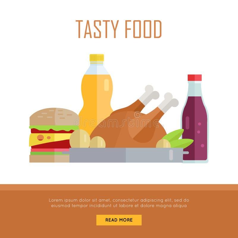 Illustration savoureuse de bannière de Web de concept de nourriture illustration stock